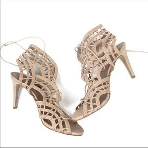 Joie Nude Leah Lace Up Cage Sandal Heel 9